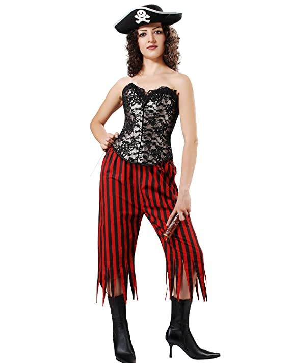 Women's Medieval Renaissance Gothic Red & Black Striped Zig Zag Hem Design Lady Pirate Pants by ThePirateDressing