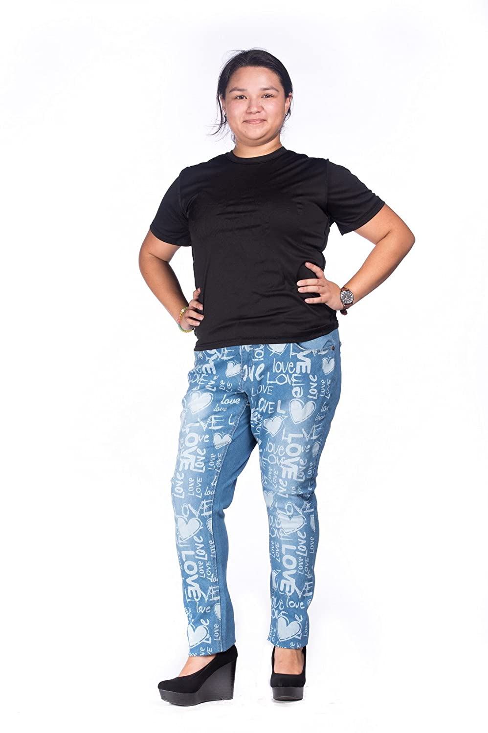 Jeans Colony Women's Plus Size Washed Comfy Stretch Skinny Jeans
