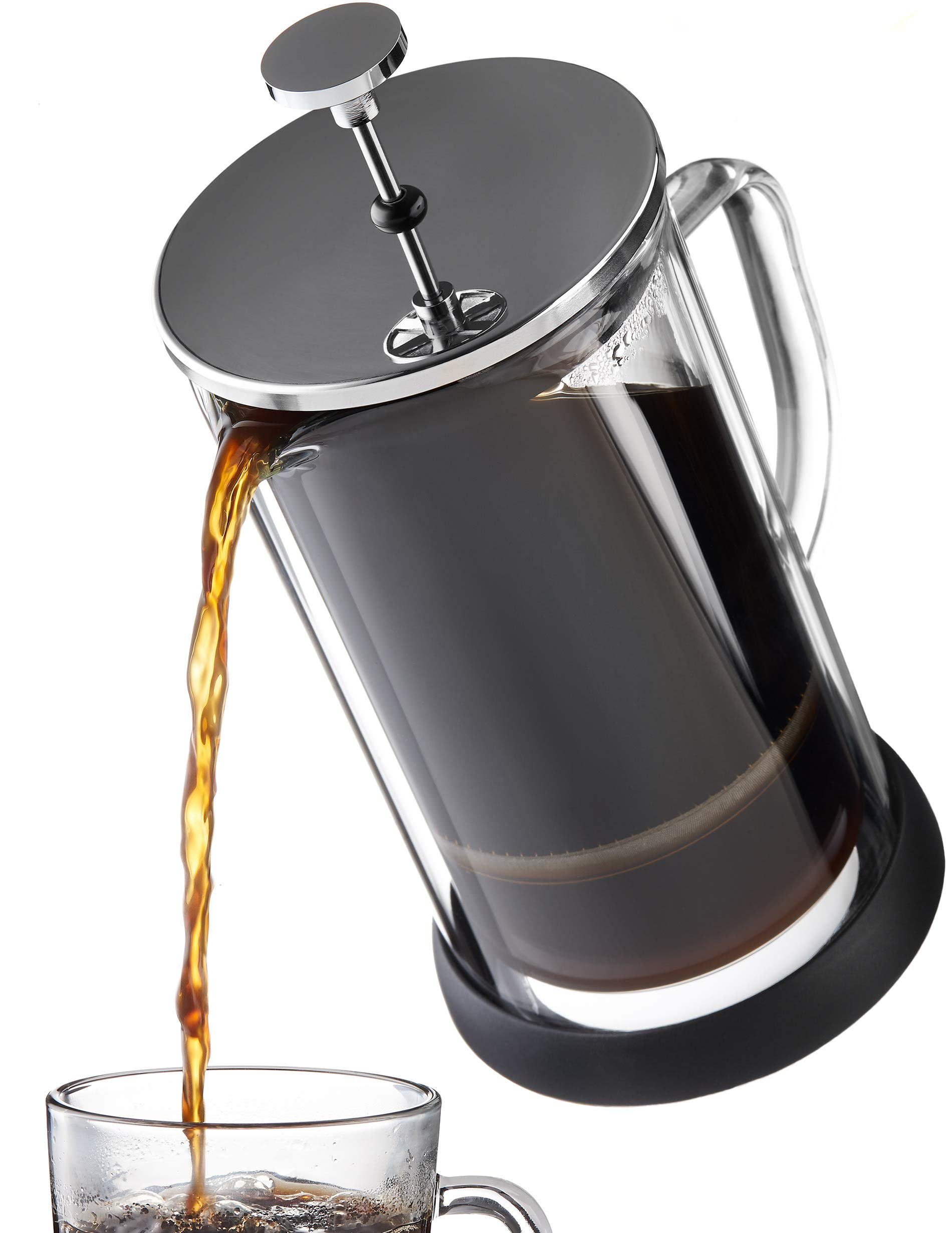 French Press Coffee Maker 34 oz - Innovative Double Glass Design Holds Heat, Dual Filters Provide a Smooth Brew - Includes 2 Additional Mesh Filters
