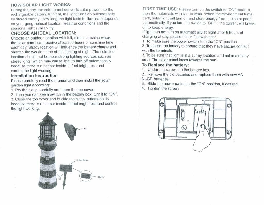 Garden Sunlight C5116W Solar Lighthouse Garden Decor, Blue/White, Amber LEDs, (35-Inch)