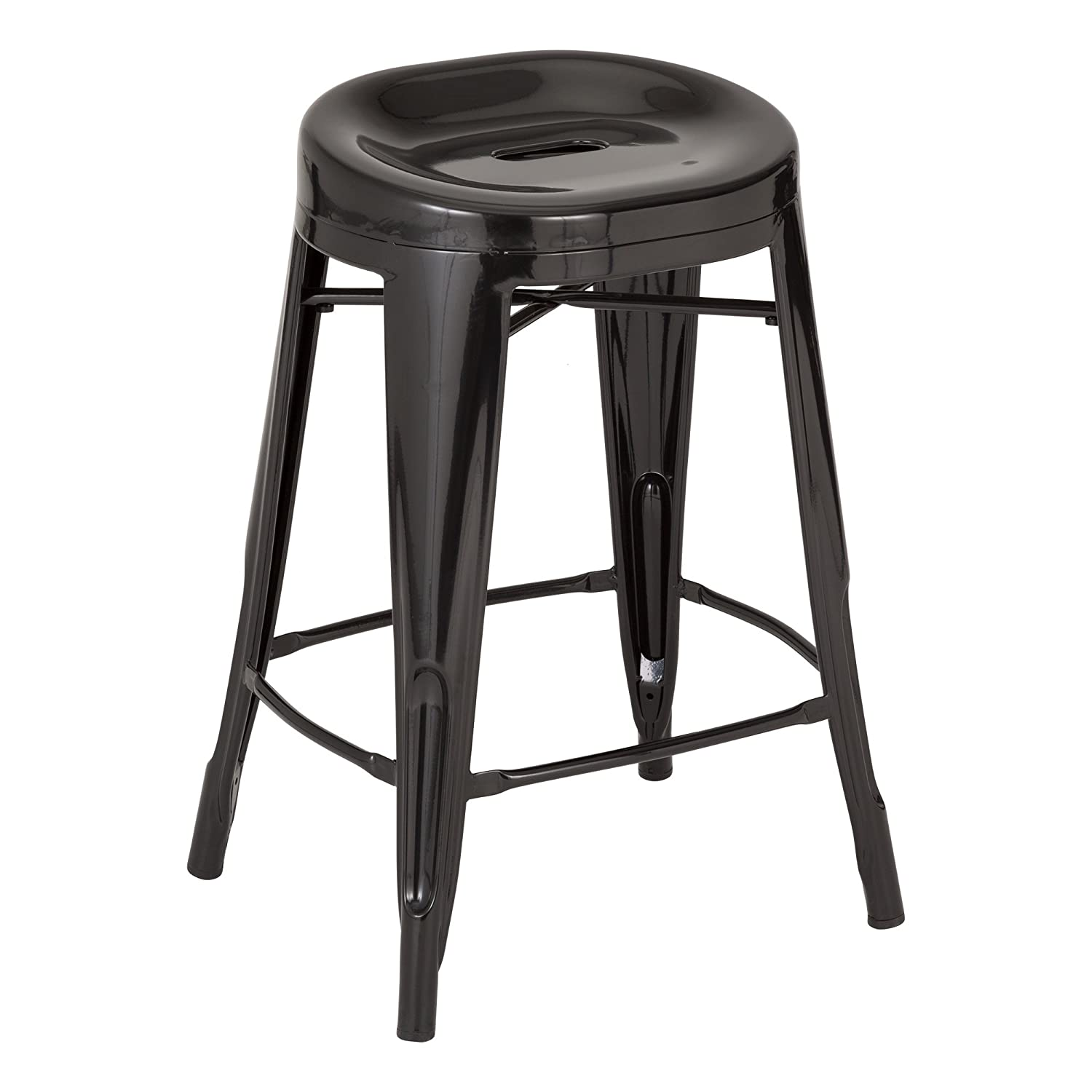 Fat Catalog ALT-XUW-1001SL Modern Industrial Metal Bar Stool w/ Curved Seat, 24 Height, 14.2 Wide, 17.32 Length, Black (Pack of 2) 24 Height 14.2 Wide 17.32 Length ALT-XUW-1001BK