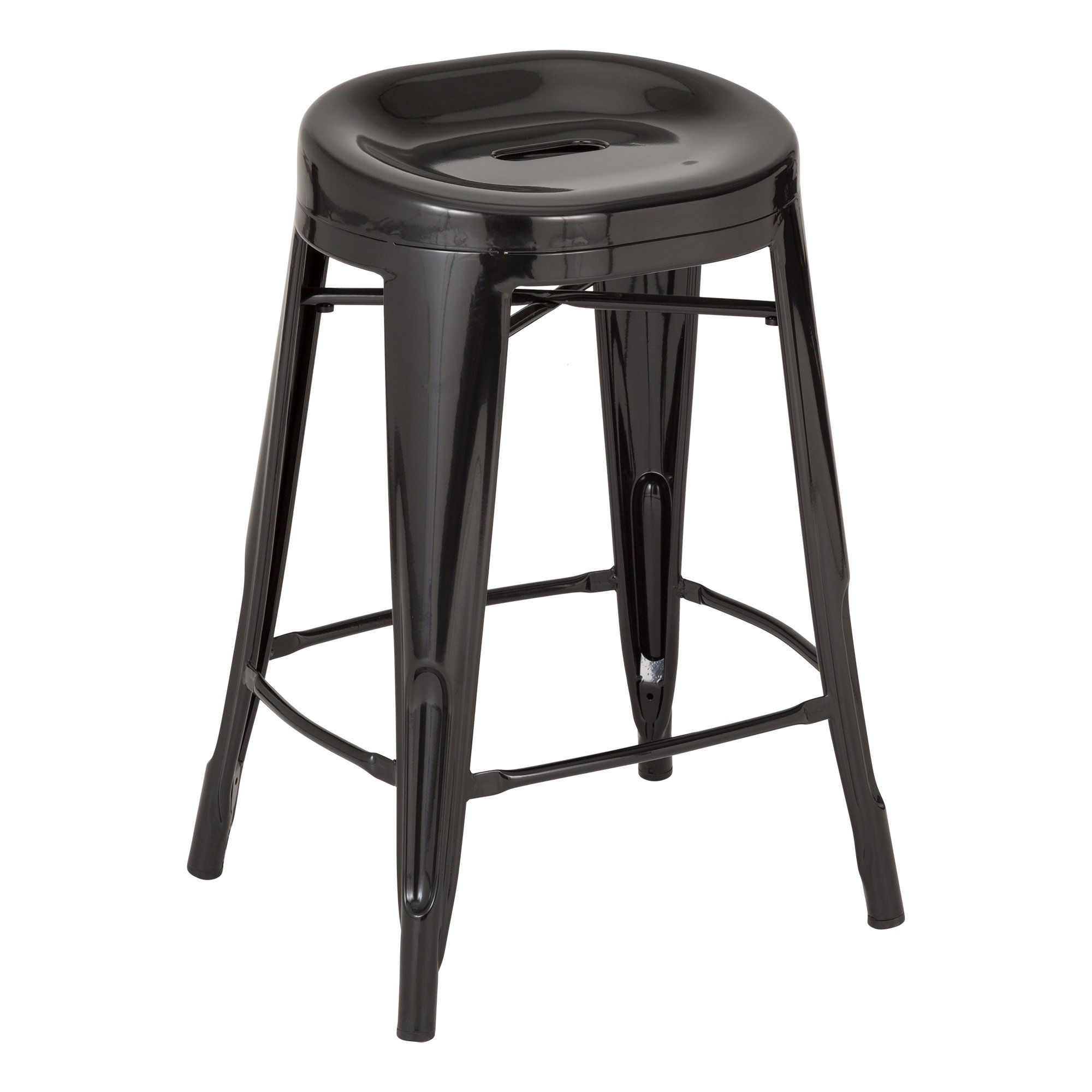 Fat Catalog ALT-XUW-1001BK Modern Industrial Metal Bar Stools w/ Curved Seat, 24'' Height, 14.2'' Wide, 17.32'' Length, Black (Pack of 2)