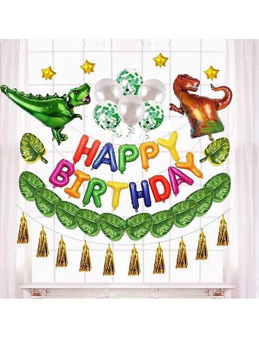 qingtianlove 12 Pulgadas Dinosaurio Feliz cumpleaños Globos ...