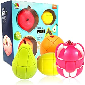 Fruit Shaped Rubiks Cube 3x3, Pack of 4, Apple Orange Lemon Pear Speed Cube Educational Creative Puzzle Gifts Toys for Boys Girls Kids Aged 3 4 5 6+