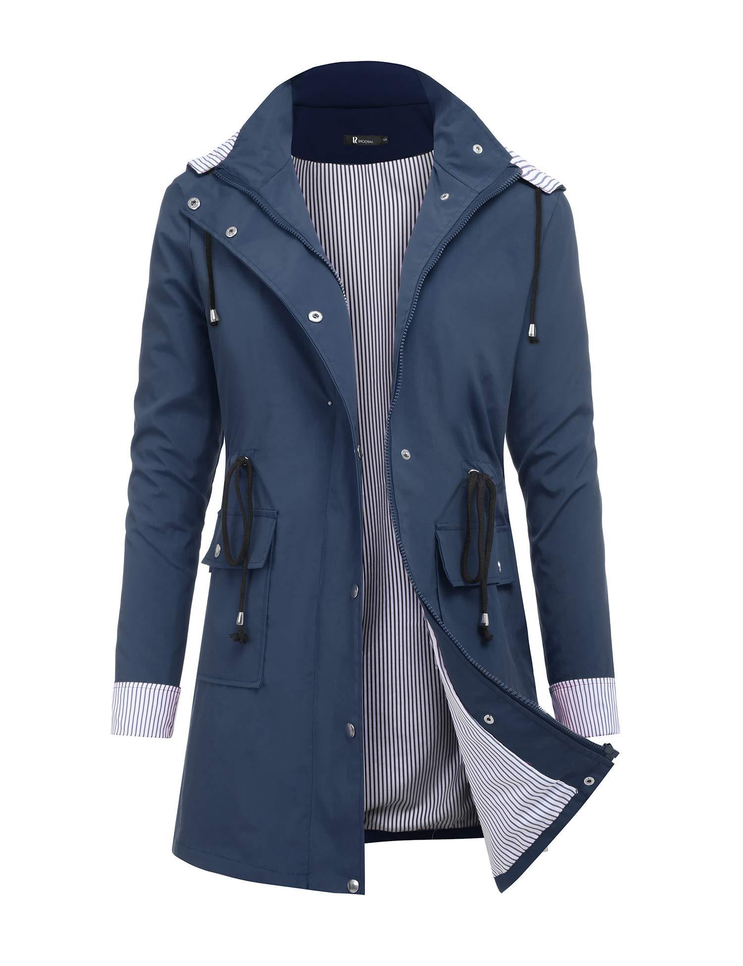 RAGEMALL Women's Raincoats Windbreaker Rain Jacket Waterproof Lightweight Outdoor Hooded Trench Coats navyblue XL by RAGEMALL