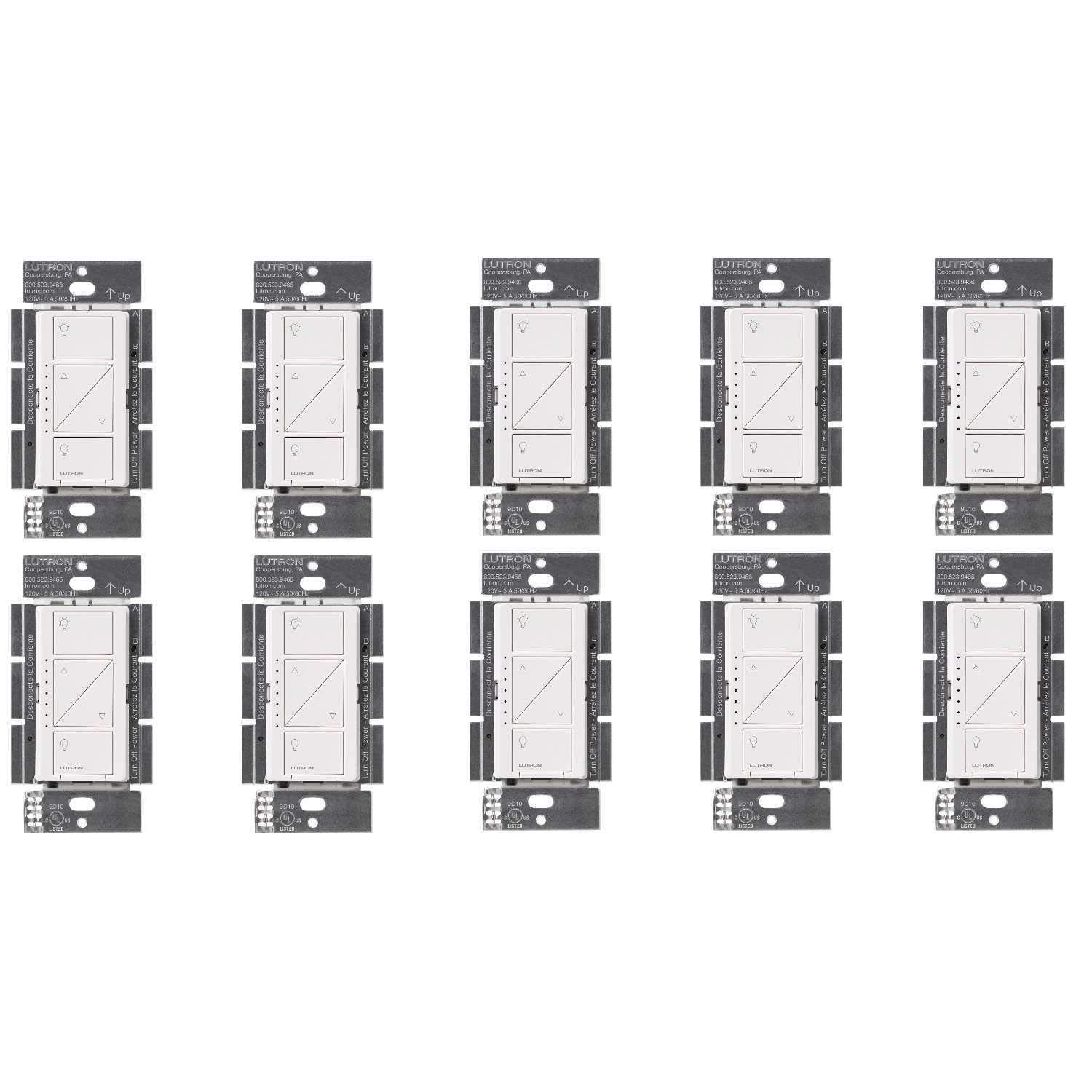 Lutron PD-6WCL-WH Caseta Wireless Smart Lighting Dimmer Switch, White (10 Pack) - - Amazon.com