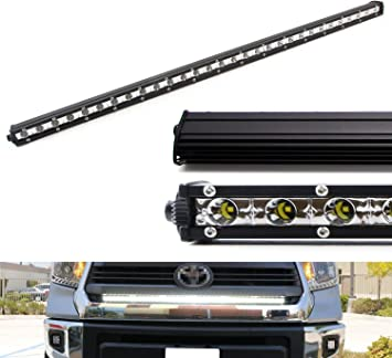 Amazon Com Ijdmtoy Behind The Grill 45 Inch 126w Led Light Bar Kit Compatible With 2014 Up Toyota Tundra Includes 1 Ultra Slim High Power Cree Led Light Bar Set Of Behind Grille Mounting