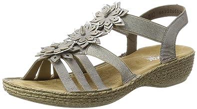 Rieker Damen 65858 Offene Sandalen mit Keilabsatz