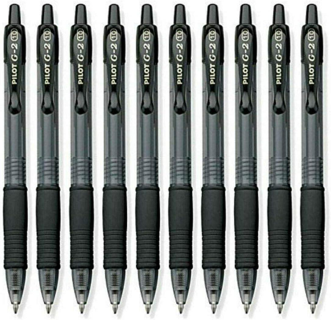 Pilot G2 Retractable Gel Ink Roller Ball Pens, Bold Point Black 10-PACK(31237)