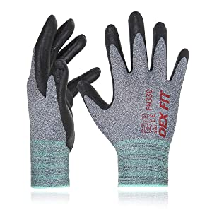DEX FIT Nitrile Work Gloves FN330, 3D Comfort Stretch Fit, Durable Power Grip Foam Coated, Smart Touch, Thin Machine Washable, Grey Medium 3 Pairs Pack