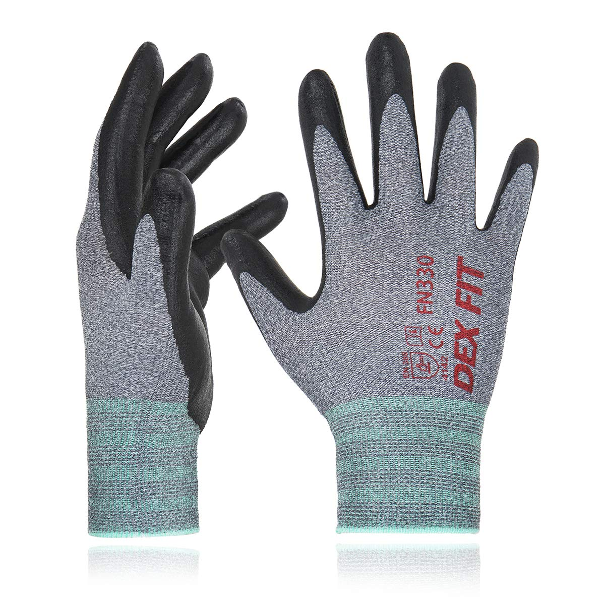 DEX FIT Nitrile Work Gloves FN330, 3D Comfort Stretch Fit, Durable Power Grip Foam Coated, Smart Touch, Thin Machine Washable, Grey Large 12 Pairs Pack