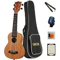 UBETA US-041 Soprano Ukulele 21 Inch Mahogany Ukulele Package with Gig bag,Tuner, Strap, Picks, Spare Qquila Ukulele strings and Card