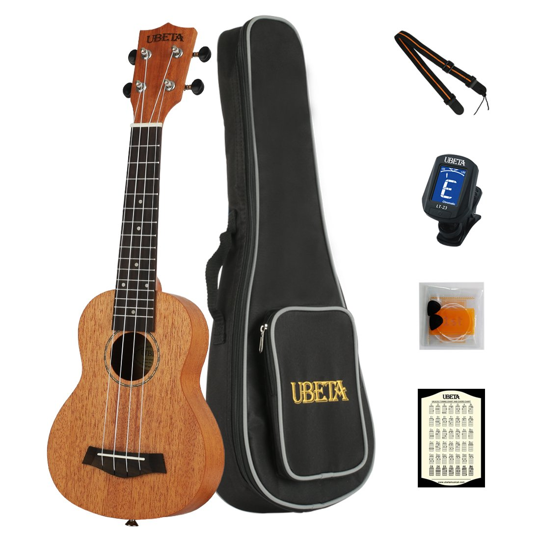 UBETA UC-041 Concert Ukulele Mahogany Aquila strings 6 in 1 Kit: Gig bag clip-on Tuner Picks Strings and Straps