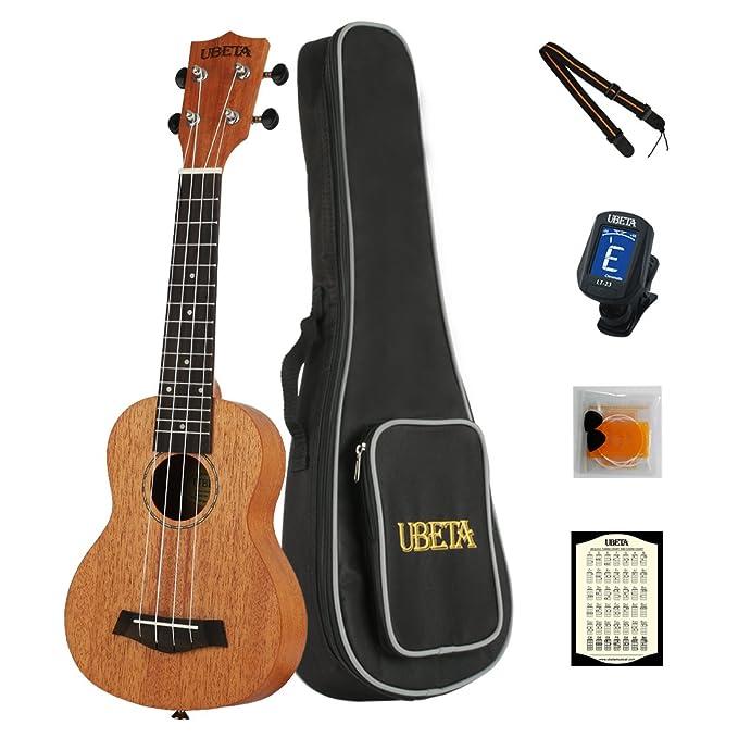 UBETA US-041 Soprano Ukulele 21 Inch Mahogany Ukulele Package with Gig bag,Tuner, Strap, Picks, Spare Qquila Ukulele strings and Card: Amazon.es: ...