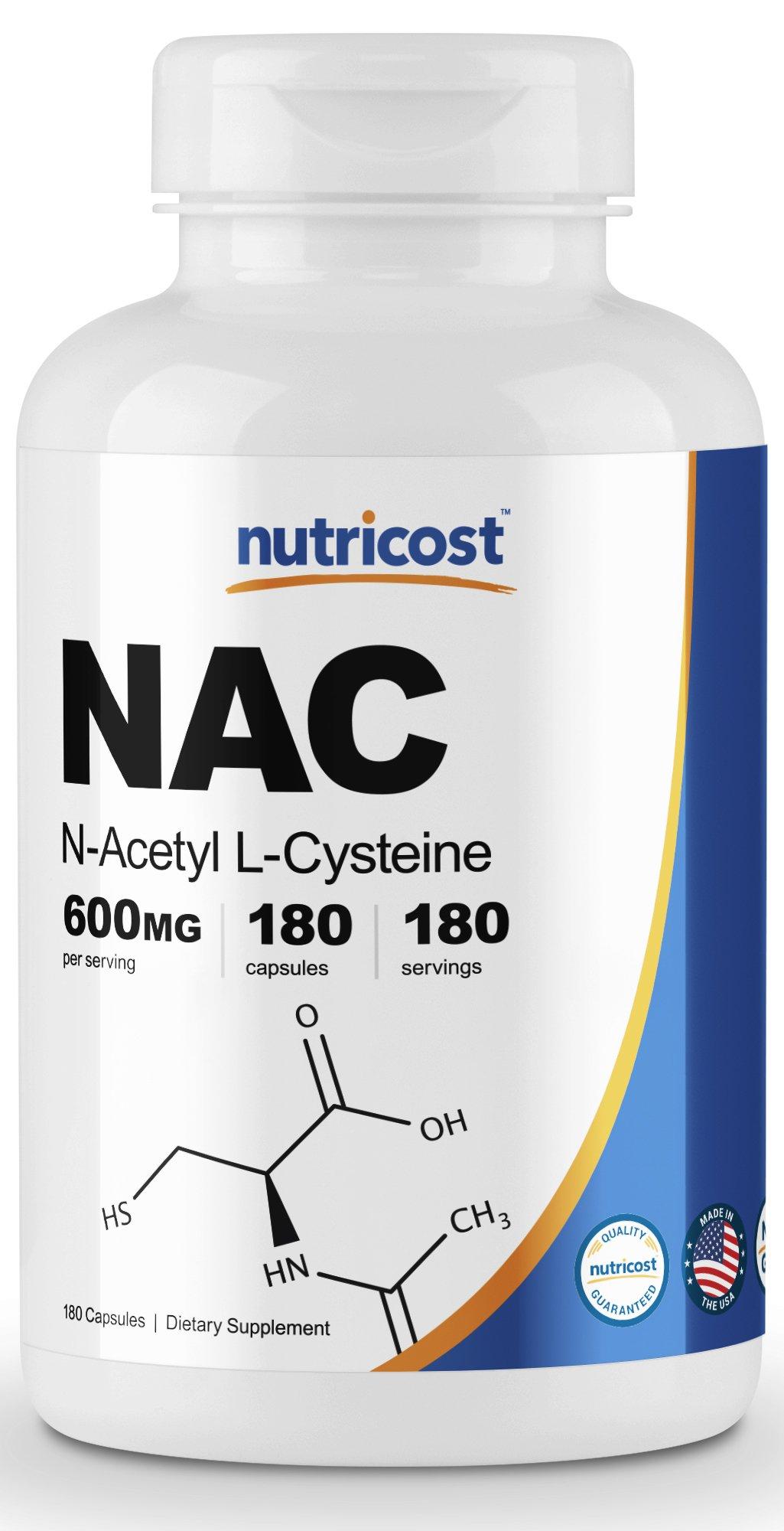 Nutricost N-Acetyl L-Cysteine (NAC) 600mg; 180 Capsules