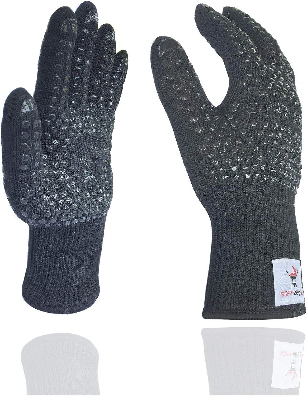 Guantes de parrilla de STAR-BBQTM Resistente al calor con silicona - Accesorios de parrilla perfectos: Se puede usar como una olla, guantes de horno, guantes de cocina o guantes de cocina