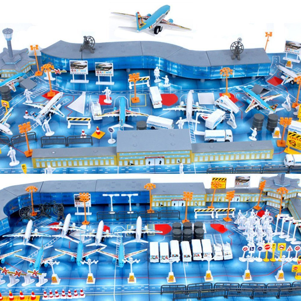 10 Pieces Airport Playset Aircraft Toys Aviation Pretend Play Cars Educational Toy Kids Gift SGKN