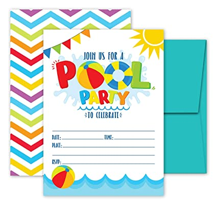 Amazon Deluxe Pool Party Invitations Swimming Kids Birthday