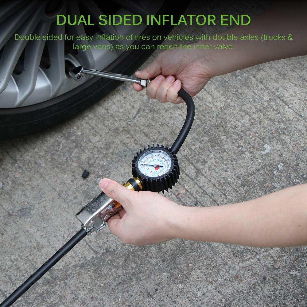 bicicletas Inflador de man/ómetro de neum/áticos 3 en 1 de 220 PSI camiones motocicletas neum/áticos de repuesto o RV SUV medidor de presi/ón de neum/áticos para coches con man/ómetro de goma