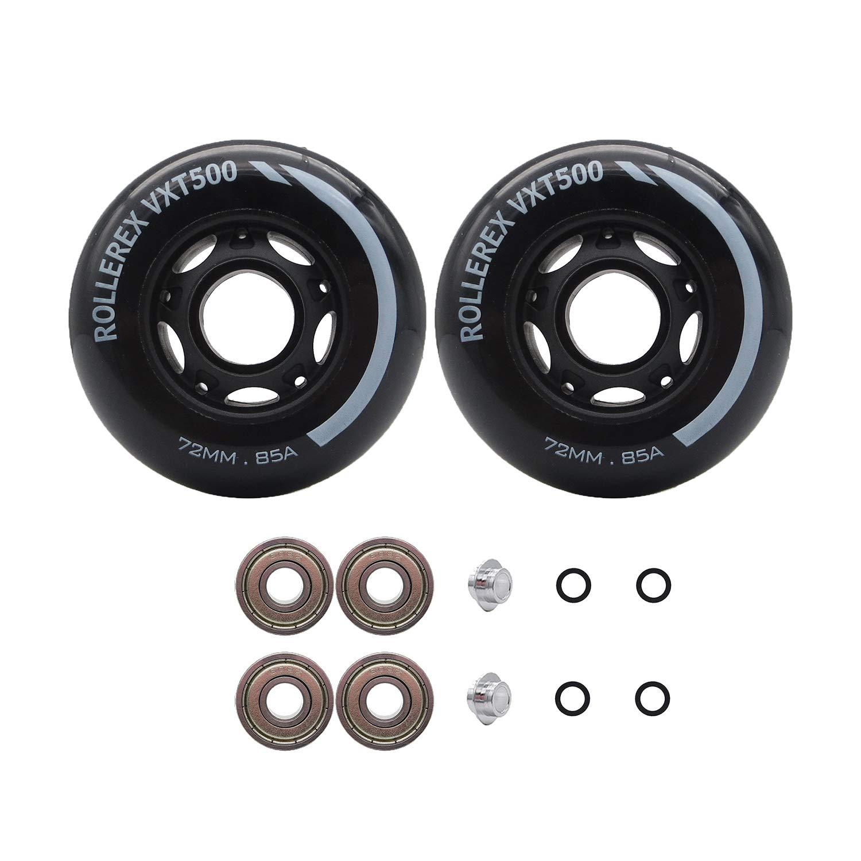 Rollerex VXT500 Inline Skate/Rollerblade Wheels (2-Pack w/Bearings, spacers and washers) (Steel Black, 72mm) by Rollerex