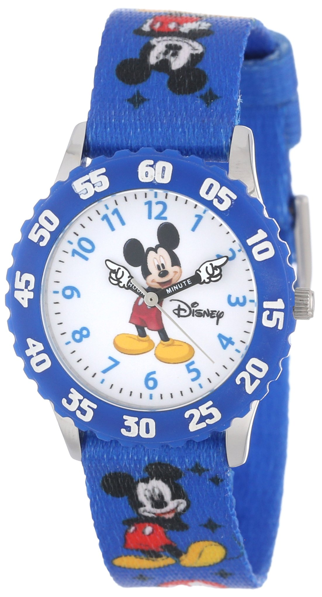 Disney Kids' W000232 Mickey Mouse Stainless Steel Time Teacher Watch with Blue Nylon Band by Disney