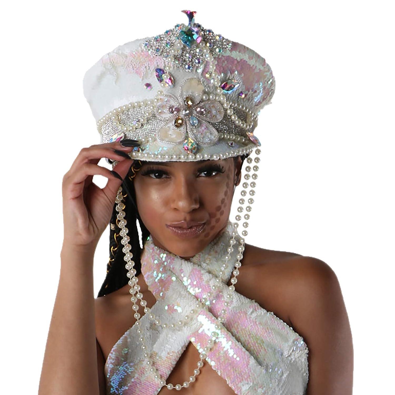 12d888927 Amazon.com: Festival Captain Hat Burning Man Hat White & Pink ...