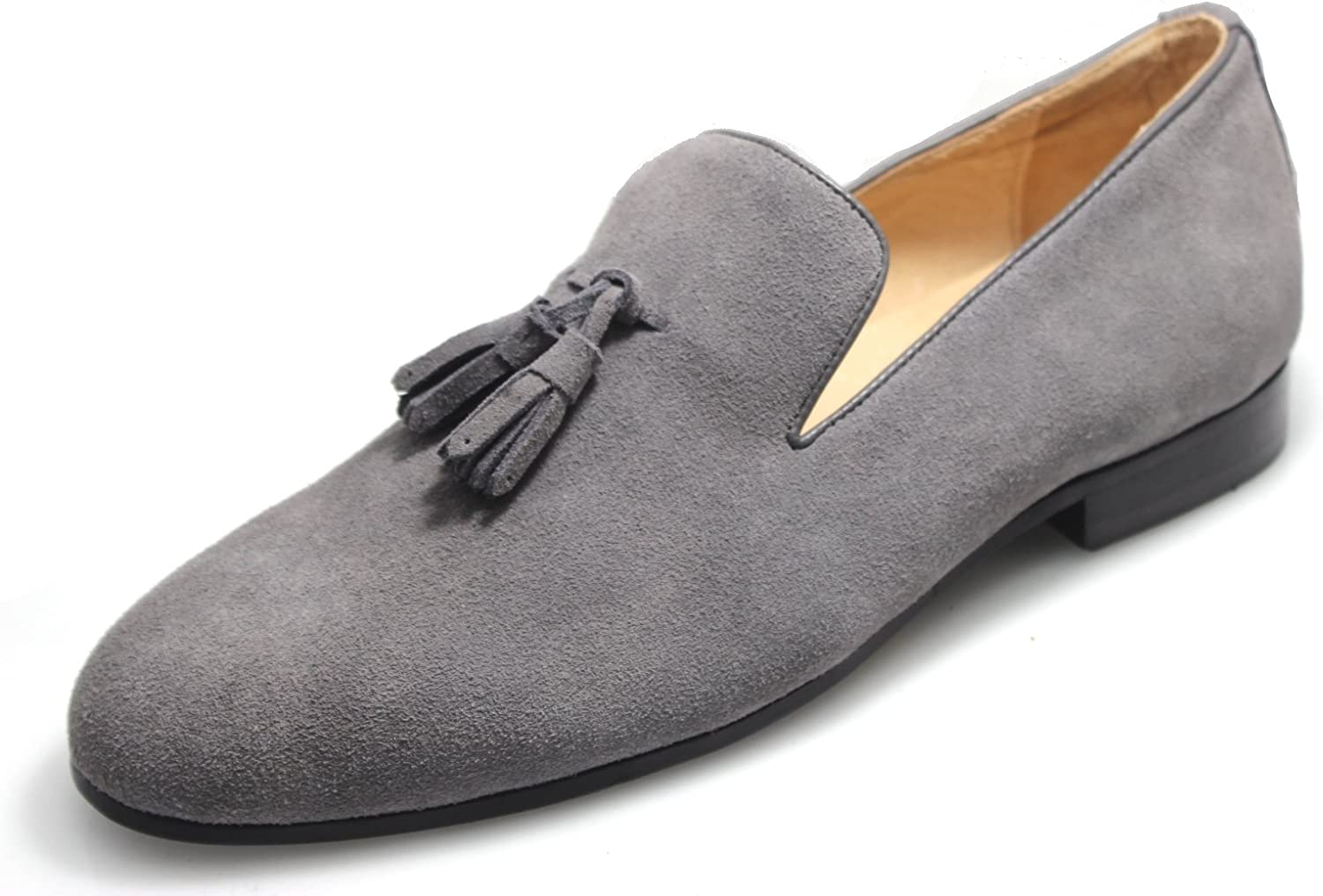 Gray Suede Tassel Loafers
