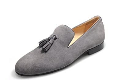 89e2bc64028 SMYTHE   DIGBY Men s Gray Suede Tassel Loafers ...