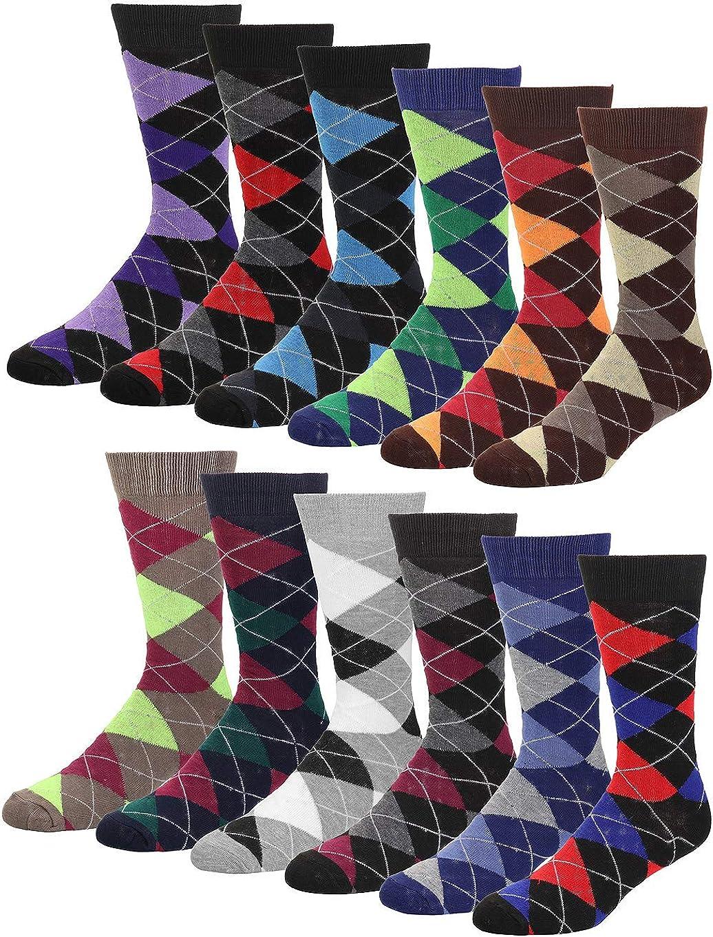 Falari Men Colorful Funny Novelty Crazy Combed Casual Dress Socks