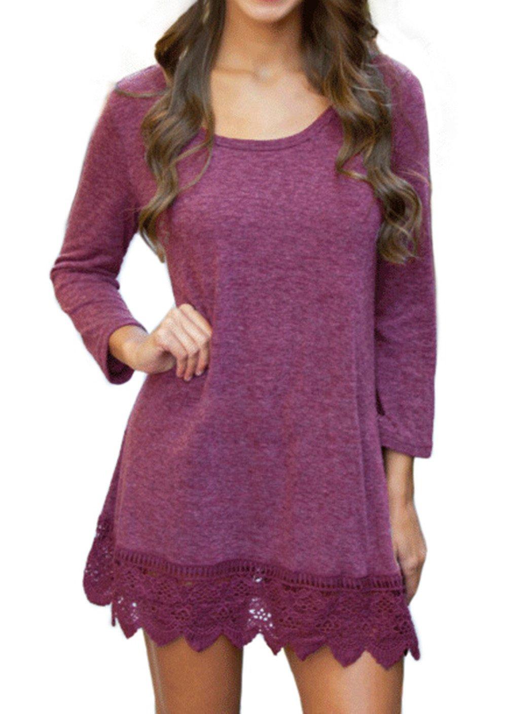 POZON Women's Casual Long Sleeve Simple T-Shirt Loose Dress (M, Purplish Red)
