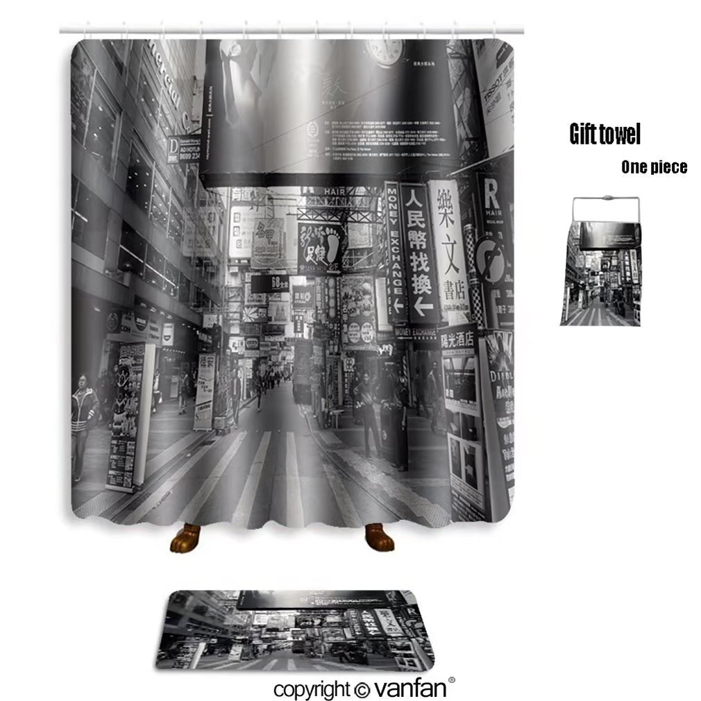 vanfan bath sets with Polyester rugs and shower curtain HONGKONG JANUARY 8 The street view of peop shower curtains sets bathroom 72 x 88 inches&31.5 x 19.7 inches(Free 1 towel and 12 hooks)