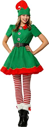 Womens Holiday Elf Costume Dress and Hat Elf Costume for Women
