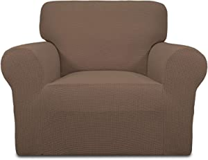 Easy-Going Stretch Oversized Chair Sofa Slipcover 1-Piece Couch Sofa Cover Furniture Protector Soft with Elastic Bottom for Kids Spandex Jacquard Fabric Small Checks Brown