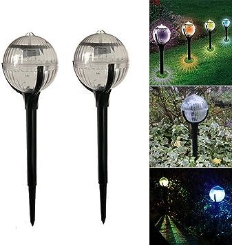Sdkmah9 - Lámpara Solar de Jardín LED de Alta Calidad para Exteriores, Resistente al Agua, con Pinchos para Patio, Patio, Valla y Jardín, 2 PC: Amazon.es: Deportes y aire libre