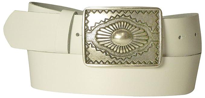 bedc94dc4d73 Fronhofer Ceinture pour femme et homme, ceinture en cuir à boucle mexicaine  couleur argent vieilli