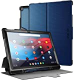 Poetic Explorer Series Designed for Google Pixel Slate Case, Full Body Triple Layers Tough 360 Degree Stand Folio Cover with Built-in Screen Protector, Navy Blue