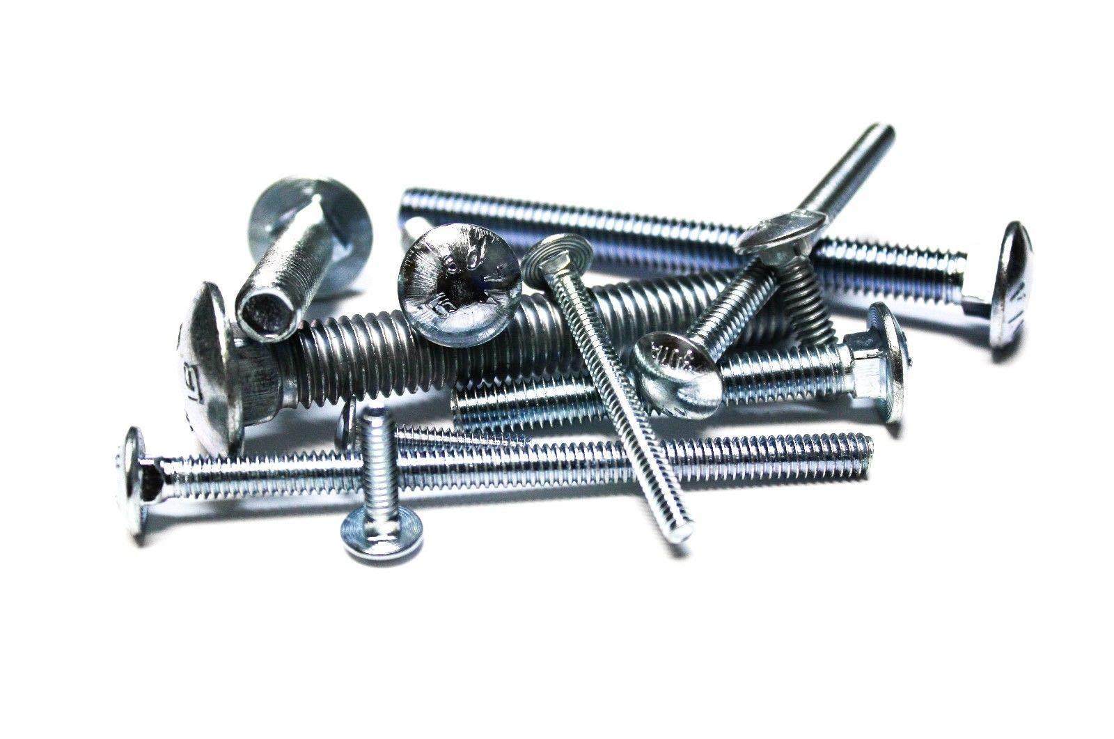 (500 pcs) 1/4''x2'' Carriage Bolts - Zinc Bolts Assortment Kit Set