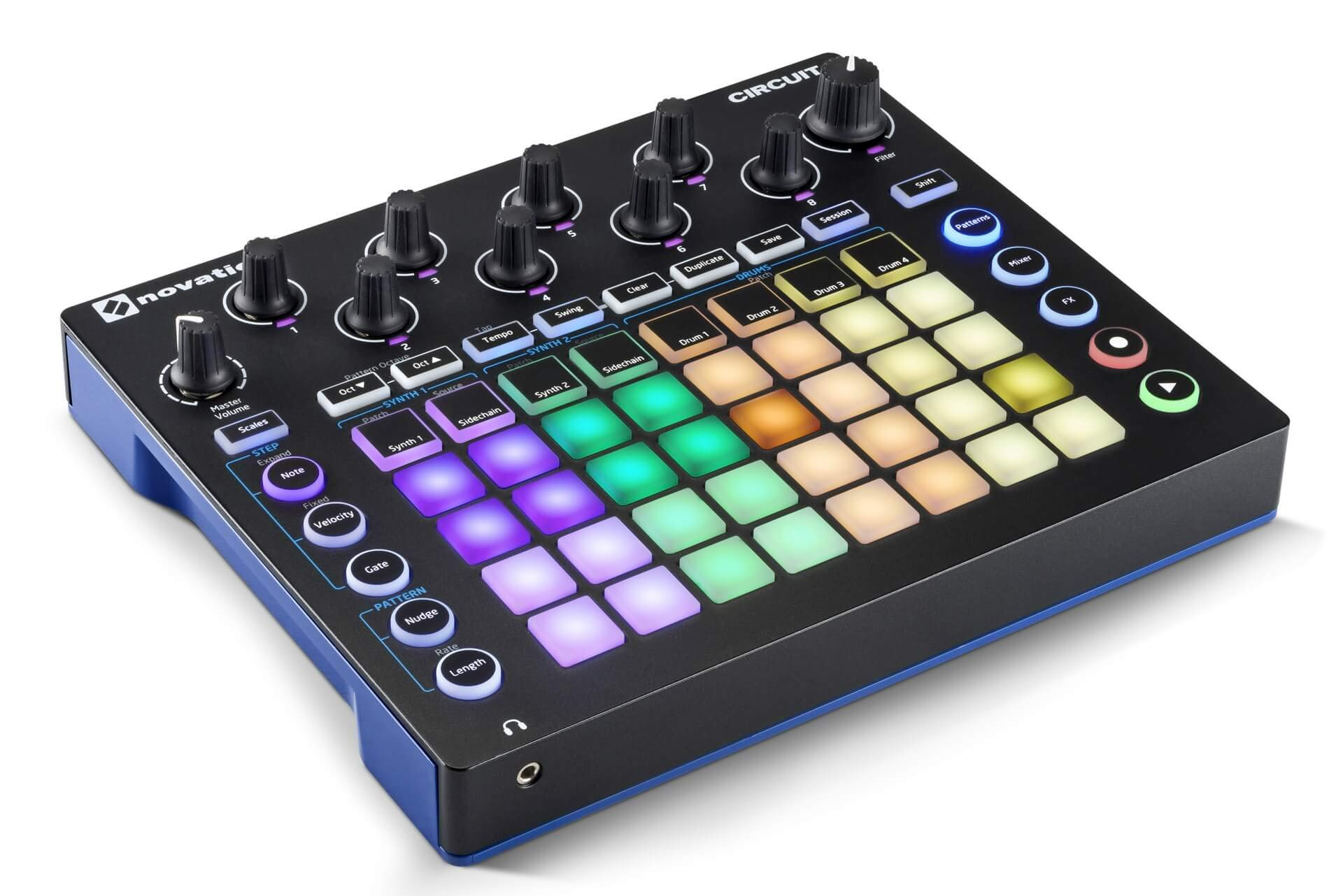 Novation Circuit Drum Machine, Pad Controller Grid-Based Groove Box with 1 Year Free Extended Warranty by Novation