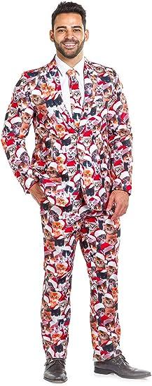Santa Suit and Tie Pattern Costume Jacket Pants Sport Coat Christmas