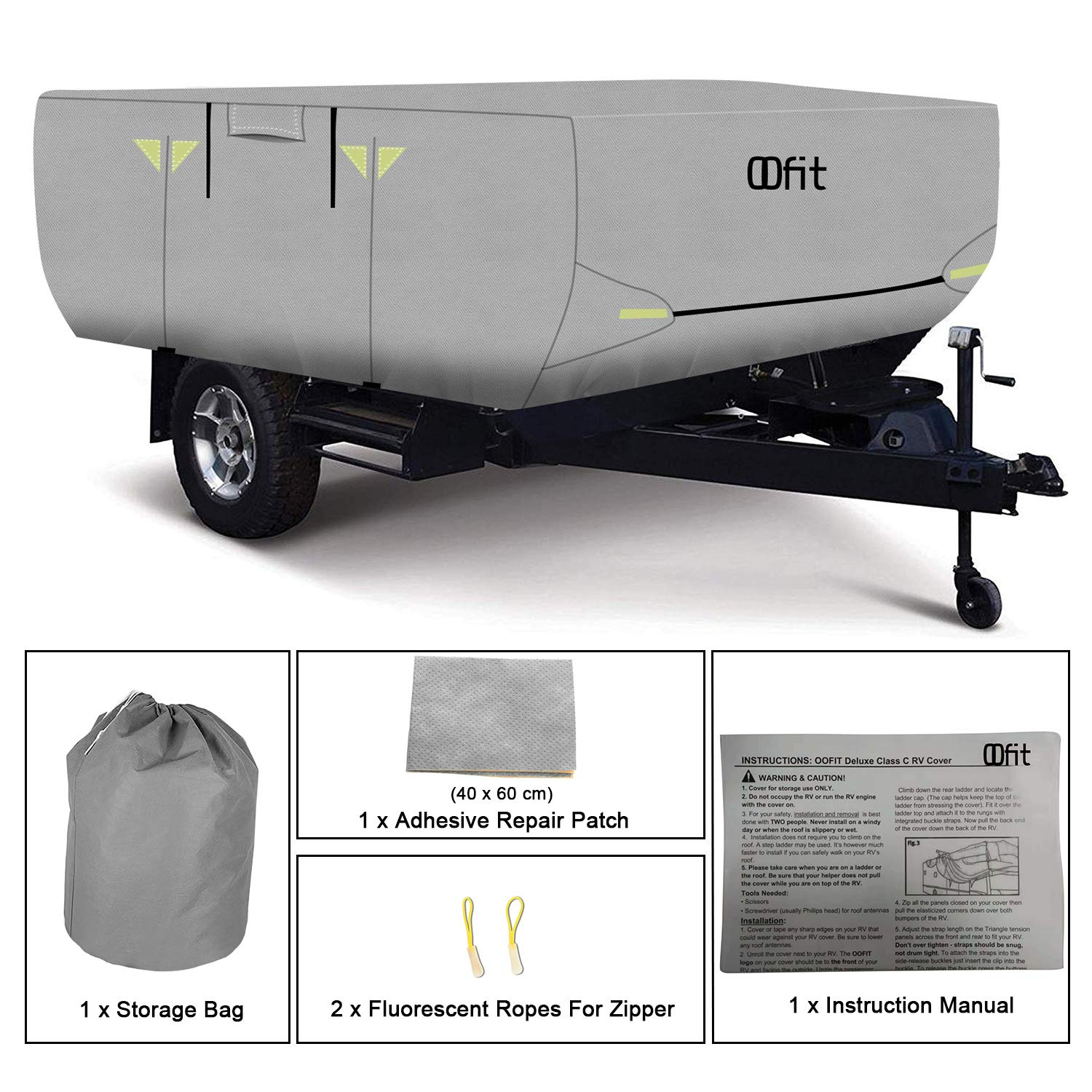 OOFIT 4 Layers Pop-up Camper Cover 12' – 14' Rip-Stop Anti-UV Folding Camper Trailer RV Cover with Adhesive Repair Patch by OOFIT (Image #6)