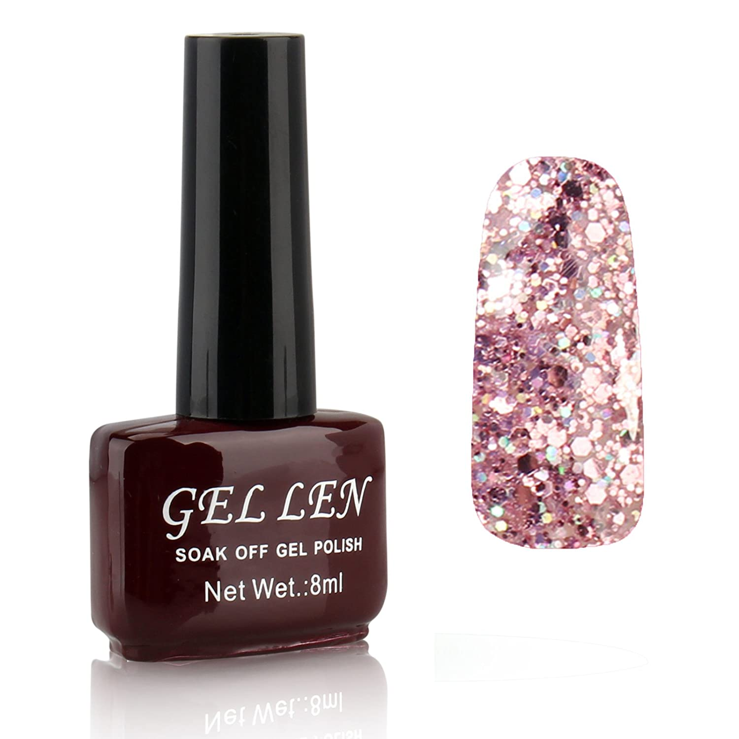 Gellen LED Gel Polish Color Gels 1pc 8ml Glitter Series Shiny Lovely Brown Bottle Color#300