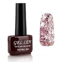 Gellen LED Gel Polish Color Gels 1pc 8ml Glitter Series Shiny Lovely Brown Bottle Color#300