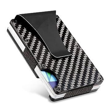 Tarjetas De Crédito, PAMIYO Aluminio Titular de Tarjeta de Fibra de Carbono y Clip para Dinero RFID Bloqueo Protección