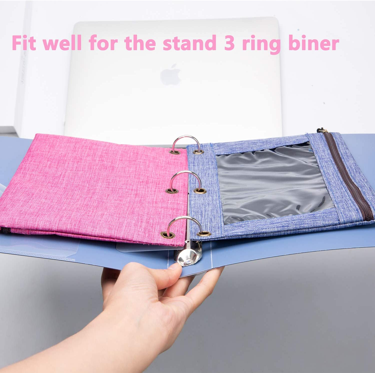 3 Rings Binder Pencil Pouch with Black Dismountable Zipper Puller Pencil Case with Double Pocket and Mesh Window Sky Blue/&Grey