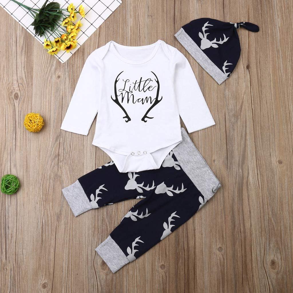 LijunMimo S/äugling Baby Jungs M/ädchen Winter Warm O-Ausschnitt Lange /Ärmel Brief Drucken Strampler Body Hirsch Drucken Hose M/ütze Outfits Setzt