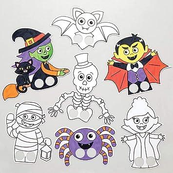 Baker Ross Marionetas de Dedos con Personajes de Halloween para Colorear (Pack de 24), Ideales para Manualidades ...