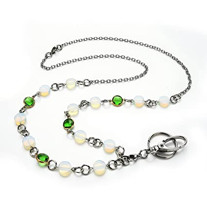 Amazon.com   LUXIANDA Natural Beads Women s Id Badge Holder Necklace ... b6290a1413