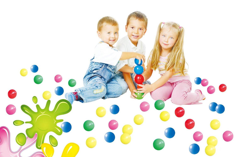 POCO DIVO 400 Pit Balls Crush-Proof BPA Free Plastics Ball 5-Color Kids Play Non-Toxic Wonder Ball with Mesh Bag