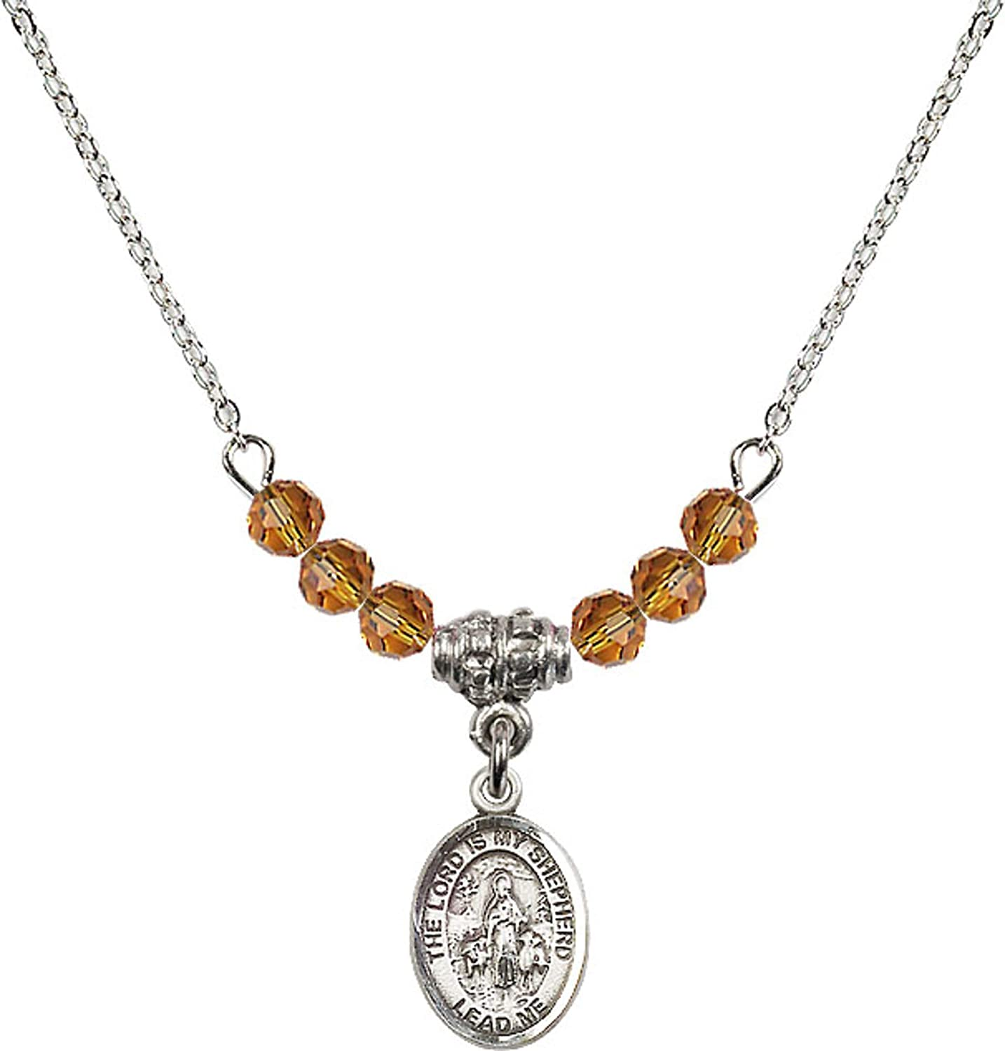 Bonyak Jewelry 18 Inch Rhodium Plated Necklace w// 4mm Yellow November Birth Month Stone Beads and Lord is My Shepherd Charm