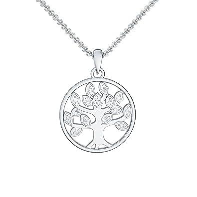 Lebensbaum Kette Silber 925 Anhänger Glücksbringer Kette Baumanhänger in Silber  925 GRATIS Luxus-Etui Halskette mit Zirkonia Steine Kettenanhänger ... ef87dbf7a9